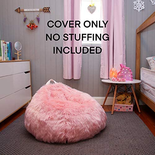 51XaN9dMhjL. AC  - Fluffy Stuffs | Super Soft Furry Stuffed Animal Storage Bean Bag Chair Cover for Kids | Premium Plush Fur | Canvas Handle | Make Bedroom Clutter Comfortable and Fun for Children | Machine Washable