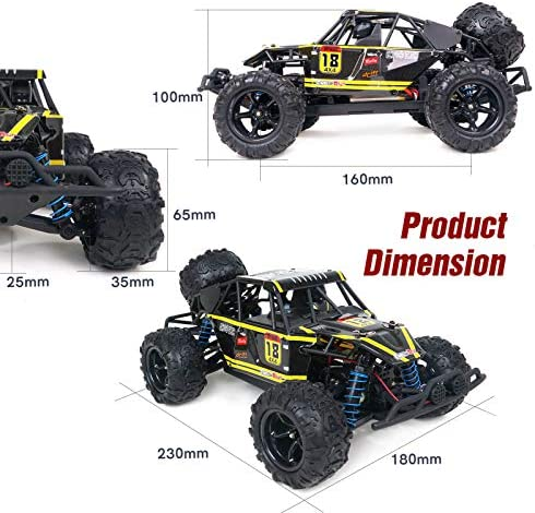 51XesgIDVxL. AC  - WOWRC Remote Control Car 1:18 RC Trucks, 2.4Ghz 4WD Off Road Rock Crawler Vehicle High Speed Racing All Terrains Rechargeable Electric Toy for Boys & Girls Gifts