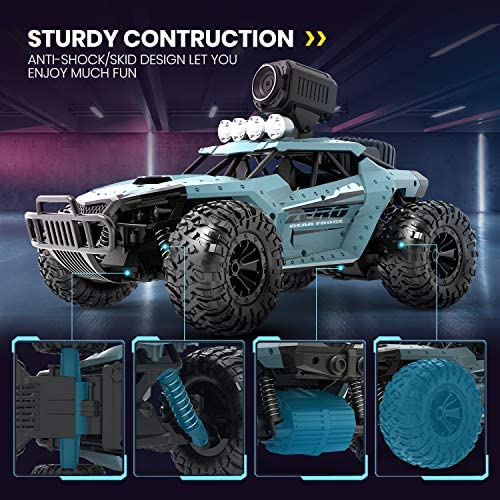 51YOExro6QL. AC  - DEERC RC Cars DE36W Remote Control Car with 720P HD FPV Camera, 1/16 Scale Off-Road Remote Control Truck, High Speed Monster Trucks for Kids Adults 2 Batteries for 60 Min Play, Gift for Boys and Girls