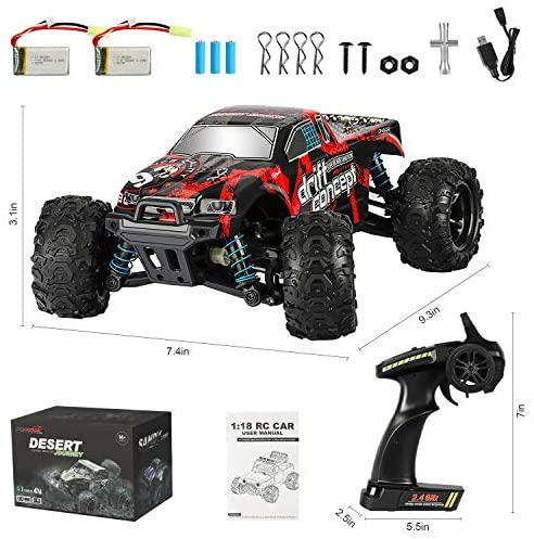 51YPA+bhUtL. AC  - Remote Control Car,1:18 Scale RC Racing High Speed Car,4WD All Terrains Waterproof Drift Off-Road Vehicle,2.4GHz RC Road Monster Truck Included 2 Rechargeable Batteries,Toy for Boys Teens Adults