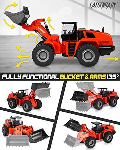 51YbZ8d8ZtL. AC  - 1:14 Scale 22 Channel Full Functional Remote Control Front Loader Construction Tractor, Full Metal Bulldozer Toy Can Dig up to 7Lbs