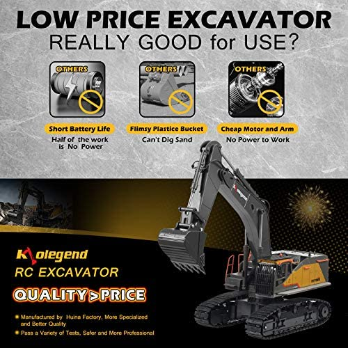 51a3PkaeLPL. AC  - kolegend Remote Control Excavator Toy 1/14 Scale RC Excavator, 22 Channel Upgrade Full Functional Construction Vehicles Rechargeable RC Truck with Metal Shovel and Lights Sounds