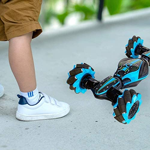 51aClIpxhwL. AC  - Remote Control Stunt Toy Car,Twisting Off-Road Vehicle,360 Degree Flip Double Sided Rotating Race Car,2.4G Gesture Sensing with Four-Wheel Drive,Best Gift for Kids and Adults.(Blue