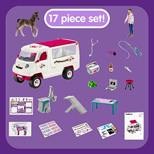 51axHFiDnYL. AC  - Schleich Horse Club, 17-Piece Playset, Horse Toys for Girls and Boys 5-12 years old Mobile Vet