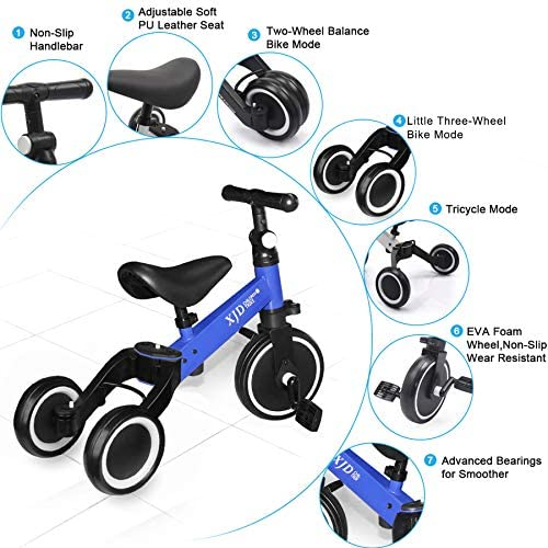 51bIk1dWkCL. AC  - XJD 3 in 1 Kids Tricycles for 10 Month-3 Years Old Kids Trike 3 Wheel Toddler Bike Boys Girls Trikes for Toddler Tricycles Baby Bike Trike Upgrade 2.0