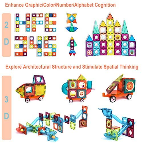 51bmau3Xd4L. AC  - MAMABOO Magnetic Tiles Set 174 Piece Pipe Magnetic Building Blocks with Car for Kids 3D Clear Magnets Educational Toys Marble Run STEM Toy for Children Kids Boys Girls Age 3 4 5 6 7 8+ Year Old