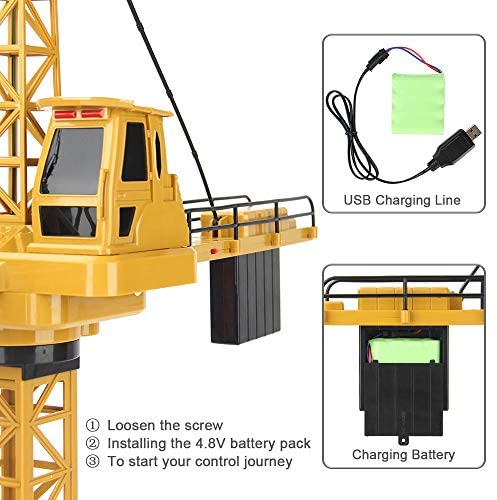 51cdb lBSzL. AC  - Mini Tudou RC Crane Toy,50.4 inch Tall 2.4GHz Remote Control Robotic Excavator,Educational Construction Vehicles Toy for Ages 6,7,8,9 Boys or Girls