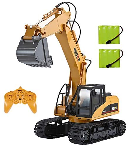 51d4dEXvFgL. AC  - TEMA1985 Remote Control Excavator Toys with Metal Shovel 15 Channel Full Functional RC Construction Vehicles with Lights & Sound 2.4Ghz RC Excavator Toys for Boys
