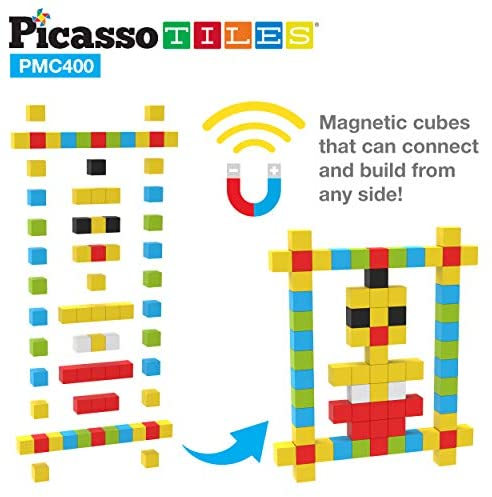 51dCI45X41L. AC  - PicassoTiles Mini Pixel Magnetic Puzzle Cube 400 Piece Mix & Match Cubes Sensory Toys STEAM Education Learning Building Block Magnets Children Construction Toy Set Stacking Magnet Creative Kit PMC400