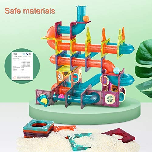 51dGOMRRfOL. AC  - MAMABOO Magnetic Tiles Set 174 Piece Pipe Magnetic Building Blocks with Car for Kids 3D Clear Magnets Educational Toys Marble Run STEM Toy for Children Kids Boys Girls Age 3 4 5 6 7 8+ Year Old