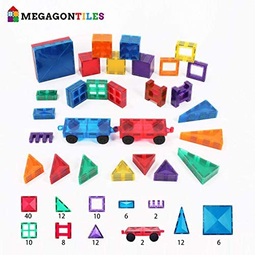 51dI4iH6LrL. AC  - MEGAGONTILES 120PCS Magnetic Tiles | STEM AUTHENTICATED | Clear Magnetic Blocks | Magnetic Toys | Magnetic Building Blocks|Gift for Toddler Boys Girls 3-10 Year Old | Include Idea Books & Storage Bag