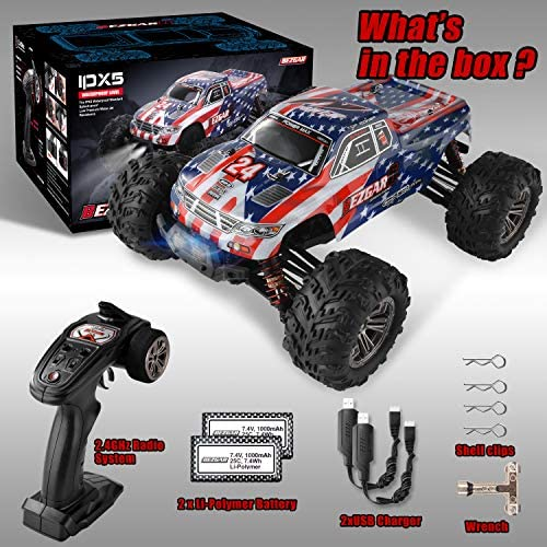 51dM6fmynXL. AC  - BEZGAR 6 Hobbyist Grade 1:16 Scale Remote Control Truck, 4WD High Speed 40+ Kmh All Terrains Electric Toy Off Road RC Monster Vehicle Car Crawler with 2 Rechargeable Batteries for Boys Kids and Adults