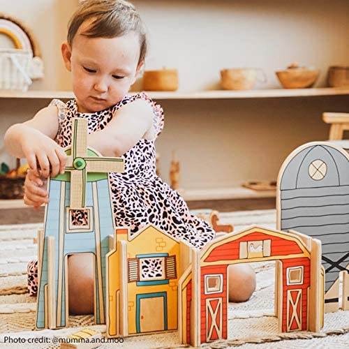 51dRpPZZ32L. AC  - The Freckled Frog Happy Architect - Farm - Set of 26 - Ages 2+ - Wooden Blocks for Preschoolers and Elementary Aged Kids - Includes Farmers, Animals and Buildings