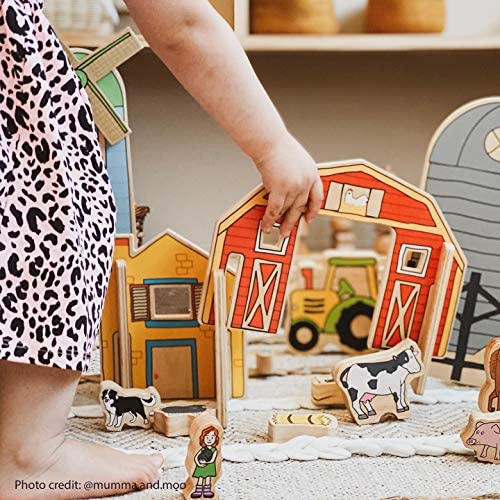 51ddkqqVEvL. AC  - The Freckled Frog Happy Architect - Farm - Set of 26 - Ages 2+ - Wooden Blocks for Preschoolers and Elementary Aged Kids - Includes Farmers, Animals and Buildings