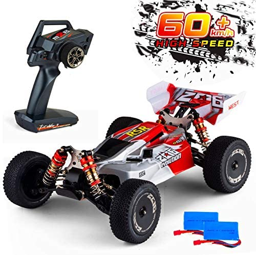 51erEF32KbL. AC  - Remote Control Car,60+ KMH 1:14 Scale WLtoys 144001 Fast RC Cars for Adults Kids,4WD Off Road Buggy Racing Car with 2 Batteries Gifts for Boys (Red)