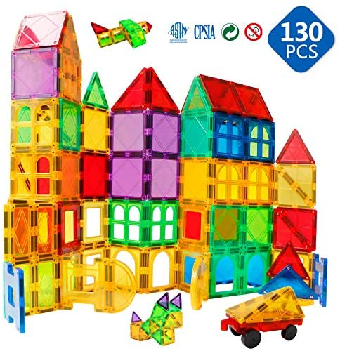 51fg0t5aZhL. AC  - Magnet Building Tiles 130 Pcs 3D Toys Magnets Magnetic Blocks Set Preschool Toys Gifts for 3 4 5 Years Old Age Boys Girls and Toddlers.