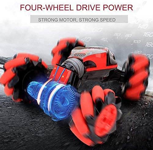 51gsxnMitJL. AC  - GoolRC RC Stunt Car, 4WD 2.4GHz Remote Control Car, Deformable All-Terrain Off Road Car, 360 Degree Flips Double Sided Rotating Race Car with Gesture Sensor Watch Lights Music for Kids (Blue)