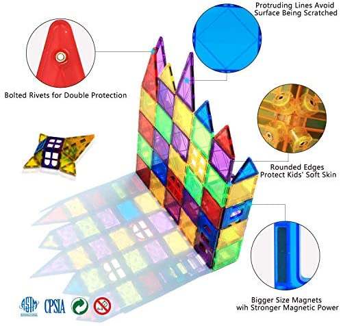 51hD3pwxfrL. AC  - Magnet Building Tiles 130 Pcs 3D Toys Magnets Magnetic Blocks Set Preschool Toys Gifts for 3 4 5 Years Old Age Boys Girls and Toddlers.