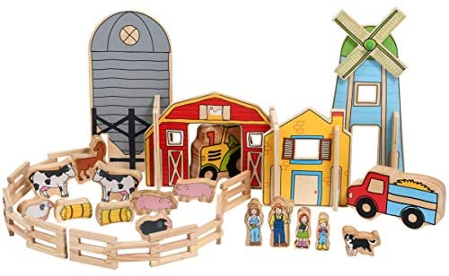 51hRXt2uWVL. AC  - The Freckled Frog Happy Architect - Farm - Set of 26 - Ages 2+ - Wooden Blocks for Preschoolers and Elementary Aged Kids - Includes Farmers, Animals and Buildings