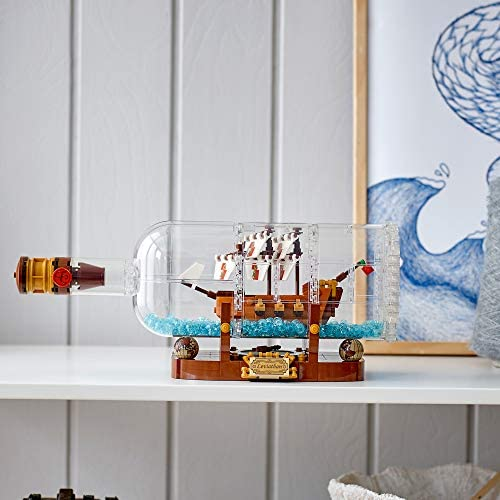 51hpGczr5mL. AC  - LEGO Ideas Ship in a Bottle 92177 Expert Building Kit, Snap Together Model Ship, Collectible Display Set and Toy for Adults (962 Pieces)