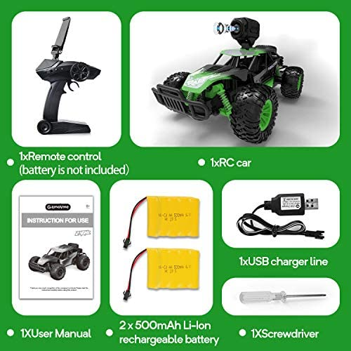 51iAE npRqL. AC  - Gizmovine Remote Control Car with Camera, High Speed Racing Off-Road RC Cars with 2 Rechargeable Batteries, Waterproof RC Monster Trucks Buggy Vehicle Electric Toy Cars for All Kids Boy