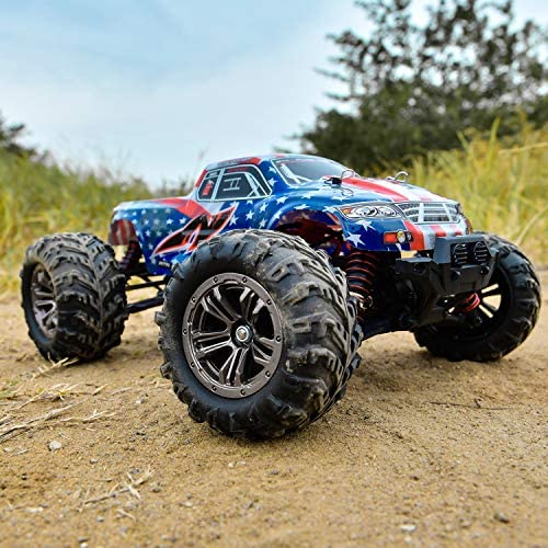 51is2ZyKnOL. AC  - BEZGAR 6 Hobbyist Grade 1:16 Scale Remote Control Truck, 4WD High Speed 40+ Kmh All Terrains Electric Toy Off Road RC Monster Vehicle Car Crawler with 2 Rechargeable Batteries for Boys Kids and Adults