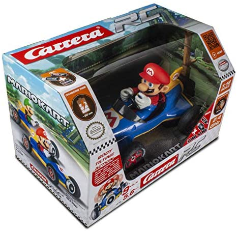 51meUDQNNsL. AC  - Carrera 181066 RC Official Licensed Kart Mach 8 Mario 1: 18 Scale 2.4 Ghz Remote Radio Control Car with Rechargeable Lifepo4 Battery - Kids Toys Boys/Girls