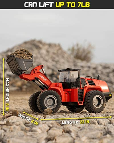 51nvLEQagxL. AC  - 1:14 Scale 22 Channel Full Functional Remote Control Front Loader Construction Tractor, Full Metal Bulldozer Toy Can Dig up to 7Lbs