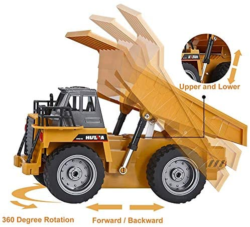 51q+Dp70N0L. AC  - Remote Control Construction Dump Truck Toy 2.4G RC Truck 6 Channel Bulldozer 4 Wheel Driver Mine Construction Alloy Metal Vehicle Truck 1:18 with 2 Rechargeable Batteries for Boys Birthday Xmas Gift