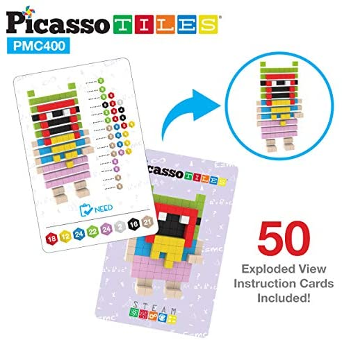 51q2O1K9G9L. AC  - PicassoTiles Mini Pixel Magnetic Puzzle Cube 400 Piece Mix & Match Cubes Sensory Toys STEAM Education Learning Building Block Magnets Children Construction Toy Set Stacking Magnet Creative Kit PMC400