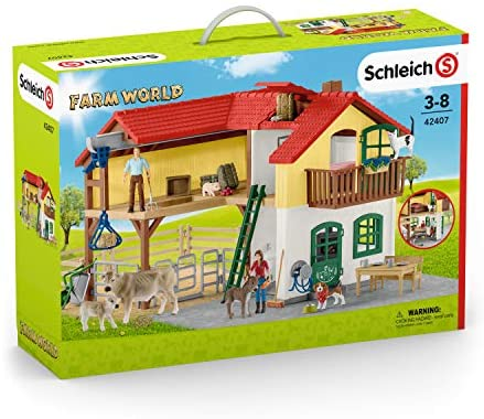 51qBNVCxk L. AC  - Schleich Farm World Large Toy Barn and Farm Animals 52-piece Playset for Toddlers and Kids Ages 3-8 Multi, 19.3 Inch