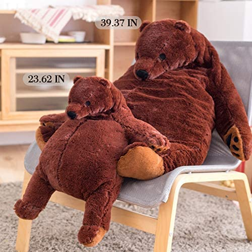 51qJGTwuULL. AC  - Giant Simulation Bear Toy Plush Toy Pillow Soft Animal Stuffed Plush Doll Home Decor Birthday Gift (100CM/39.4IN)