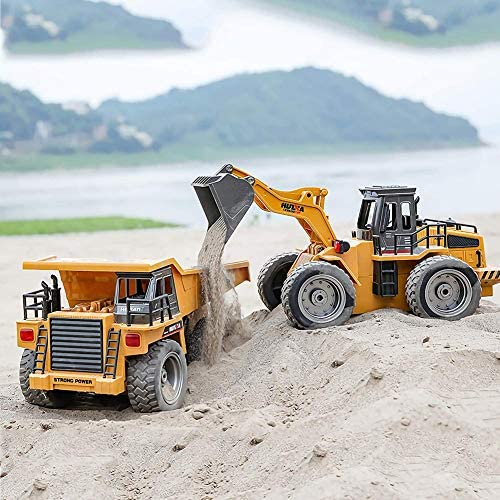 51qw4IuYJkL. AC  - Remote Control Construction Dump Truck Toy 2.4G RC Truck 6 Channel Bulldozer 4 Wheel Driver Mine Construction Alloy Metal Vehicle Truck 1:18 with 2 Rechargeable Batteries for Boys Birthday Xmas Gift