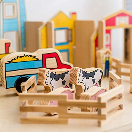 51sS BUeY9L. AC  - The Freckled Frog Happy Architect - Farm - Set of 26 - Ages 2+ - Wooden Blocks for Preschoolers and Elementary Aged Kids - Includes Farmers, Animals and Buildings