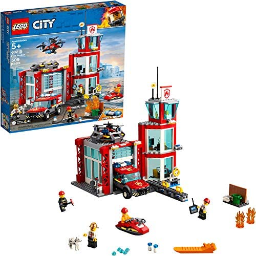 51sgO0PeaAL. AC  - LEGO City Fire Station 60215 Fire Rescue Tower Building Set with Emergency Vehicle Toys Includes Firefighter Minifigures for Creative Play (509 Pieces)