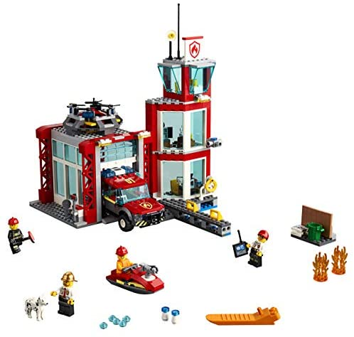 51srJ0AixTL. AC  - LEGO City Fire Station 60215 Fire Rescue Tower Building Set with Emergency Vehicle Toys Includes Firefighter Minifigures for Creative Play (509 Pieces)