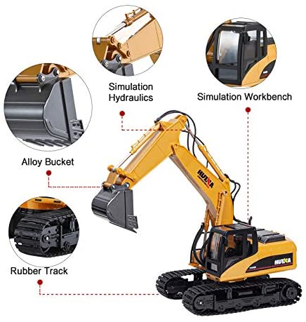51ss5cUBZbL. AC  - TEMA1985 Remote Control Excavator Toys with Metal Shovel 15 Channel Full Functional RC Construction Vehicles with Lights & Sound 2.4Ghz RC Excavator Toys for Boys