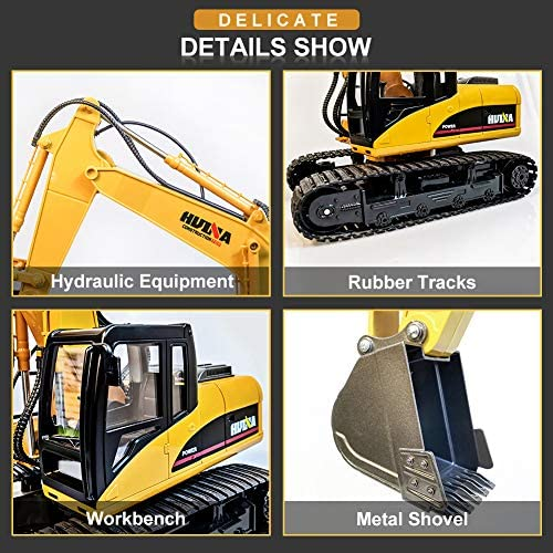 51t6yCOB BL. AC  - KKNY Remote Control Excavator Toy 1/14 Scale RC Excavator 15 Channel 2.4Ghz Full Functional Construction Vehicles RC Truck with Lights Sounds Xmas Gift for Boys Kids(Upgrade) (1:14-1)