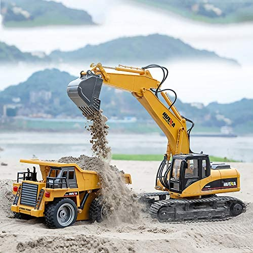 51tEhPU QCL. AC  - TEMA1985 Remote Control Excavator Toys with Metal Shovel 15 Channel Full Functional RC Construction Vehicles with Lights & Sound 2.4Ghz RC Excavator Toys for Boys