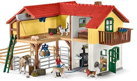 51tTMLfdqWL. AC  - Schleich Farm World Large Toy Barn and Farm Animals 52-piece Playset for Toddlers and Kids Ages 3-8 Multi, 19.3 Inch