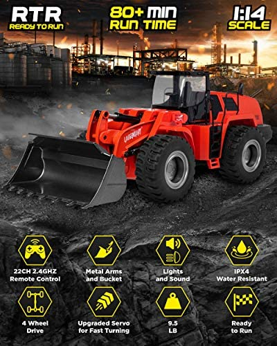 51tUbRCUU3L. AC  - 1:14 Scale 22 Channel Full Functional Remote Control Front Loader Construction Tractor, Full Metal Bulldozer Toy Can Dig up to 7Lbs