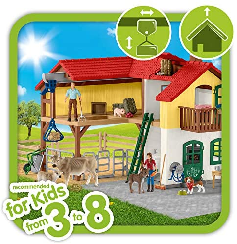51tdC8T9fKL. AC  - Schleich Farm World Large Toy Barn and Farm Animals 52-piece Playset for Toddlers and Kids Ages 3-8 Multi, 19.3 Inch