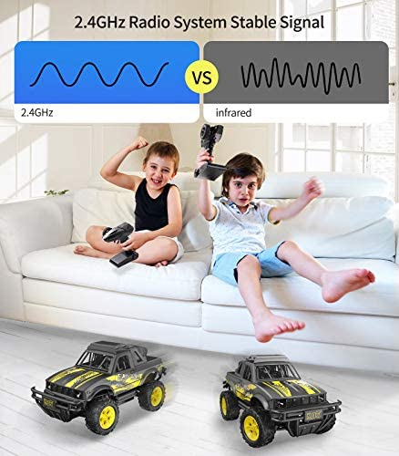 51teyzfJm L. AC  - Remote Control Jeep Dodoeleph 4X4 1:16 Large Off-Road Monster RC Trucks, 70Min Play 2.4GHz All Terrain Rock Cralwer with LED Light, High Speed Electric Vehicle Car Toy for Boys Kids