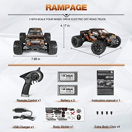51trnK3EbdL. AC  - 1:18 Scale RC Monster Truck 18859E 36km/h Speed 4X4 Off Road Remote Control Truck,Waterproof Electric Powered RC Cars All Terrain Toys Vehicles with 2 Batteries,Excellent Xmas Gifts for kid and Adults