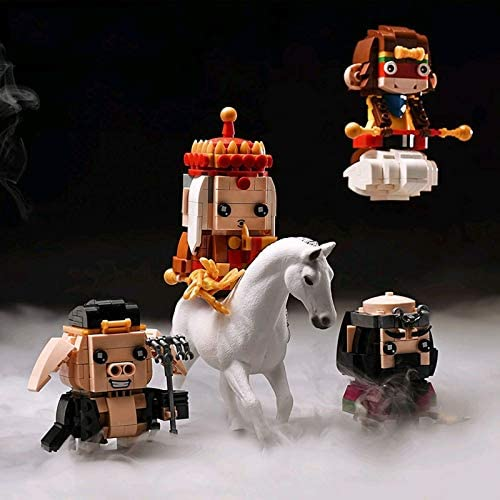 51uNFcCtoGL. AC  - LoveIyPet 4 in 1 Mini Journey to The West Character Dolls Building Blocks Set Micro Granule 3D Puzzle DIY Construction Toy for Kids Adults Gifts