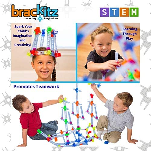 51v4P88zirL. AC  - Brackitz Inventor STEM Discovery Building Toy for Kids Ages 3, 4, 5, 6+ Year Olds   Best Boys & Girls Educational Engineering Construction Kits   Creative Fun Learning Toys for Children   170 Pc Set