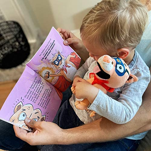 51vECfNzB0L. AC  - Belly Rubbins for Bubbins Storybook & Plush Toy Set - 2 Children's Picture Books, Coloring Book with Crayons, Pit Bull Plushie, Storage Bag - Stories About Rescue Dog Adoption - Gifts for Kids Ages 3+