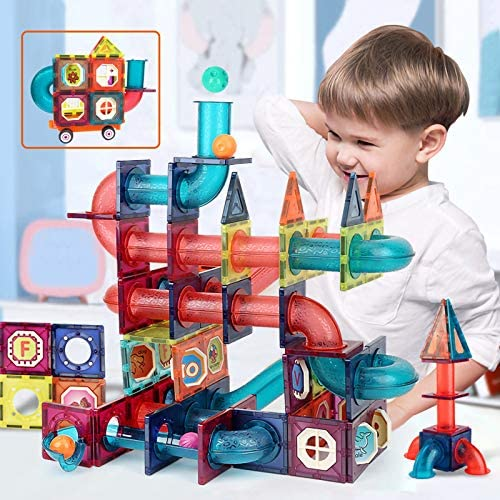 51vLW0WD LL. AC  - MAMABOO Magnetic Tiles Set 174 Piece Pipe Magnetic Building Blocks with Car for Kids 3D Clear Magnets Educational Toys Marble Run STEM Toy for Children Kids Boys Girls Age 3 4 5 6 7 8+ Year Old