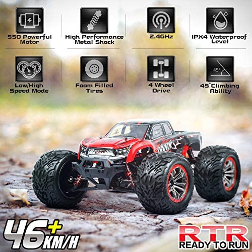 51vNrCDCUhL. AC  - Hosim 1:12 Scale 46+ kmh High Speed RC Cars - Boys Remote Control Cars 4WD 2.4GHz Off Road RC Monster Trucks for Adults Kids.Electric Power Radio Control Cars Gift for Children (Red)