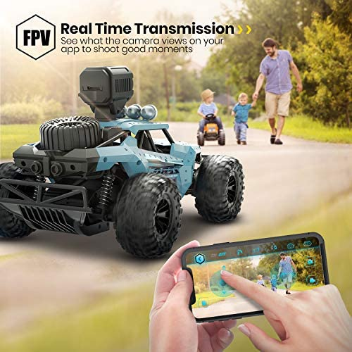 51vxex8RPNL. AC  - DEERC RC Cars DE36W Remote Control Car with 720P HD FPV Camera, 1/16 Scale Off-Road Remote Control Truck, High Speed Monster Trucks for Kids Adults 2 Batteries for 60 Min Play, Gift for Boys and Girls